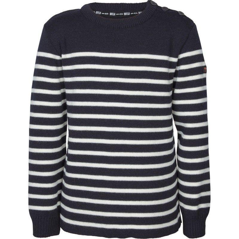 batela niño invierno niña urzelai jersey lana breton marino blanco N3406