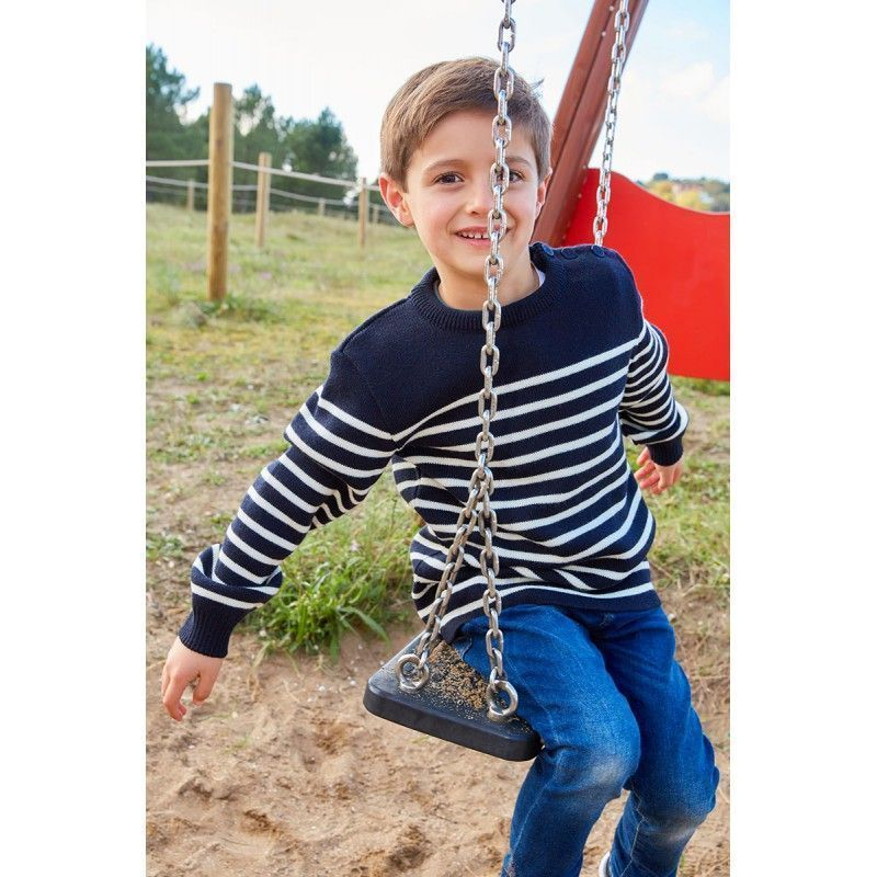 batela niño invierno niña urzelai jersey lana breton marino blanco N3406 2